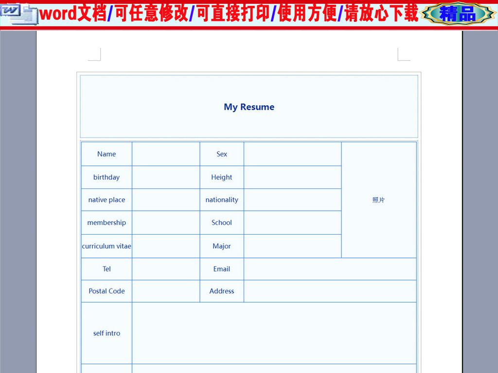 通用英文个人求职简历表格图片
