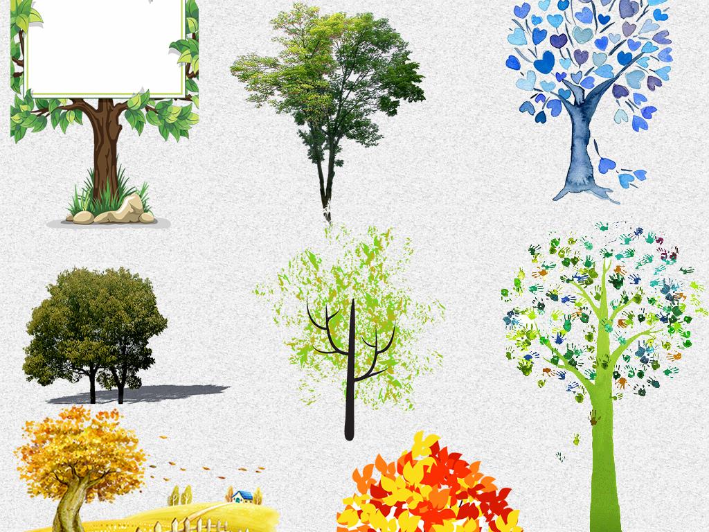 高清卡通环保园林装饰小树png免抠素材图片