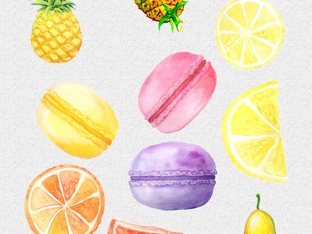 手绘水彩水果甜甜圈雪糕png免抠设计素材