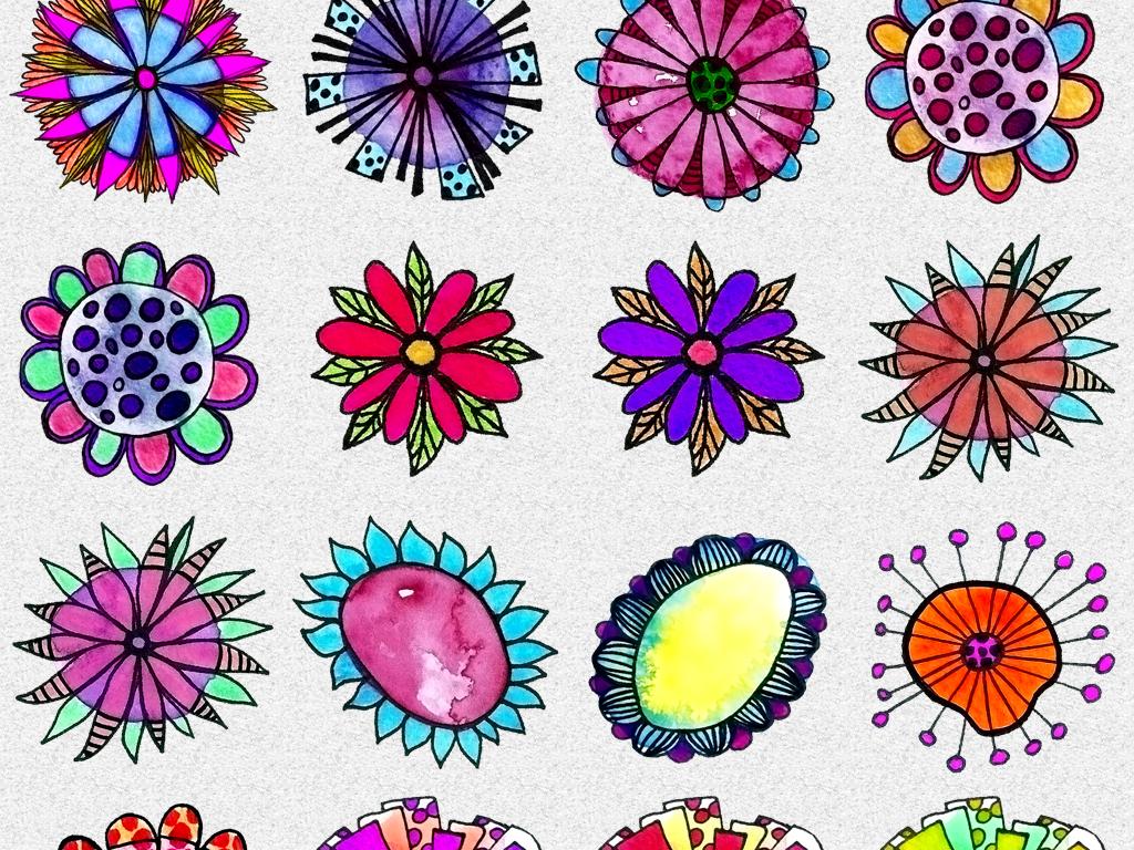 手绘水彩个性创意涂鸦花朵png免抠素材