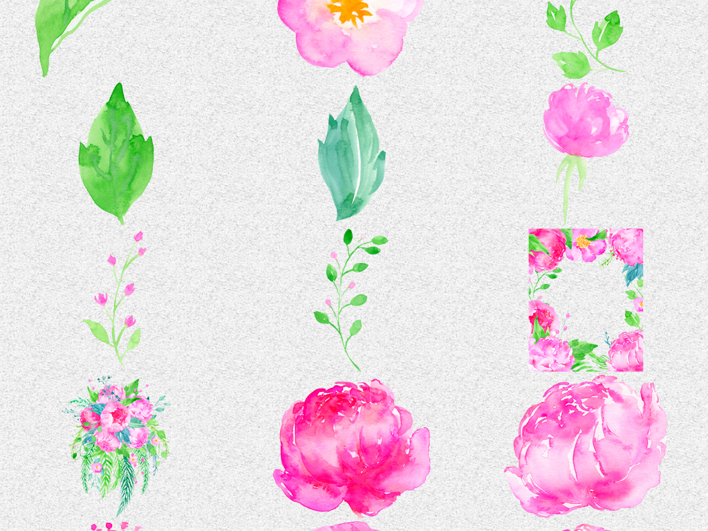 手绘水彩粉色花朵叶子png免抠设计素材