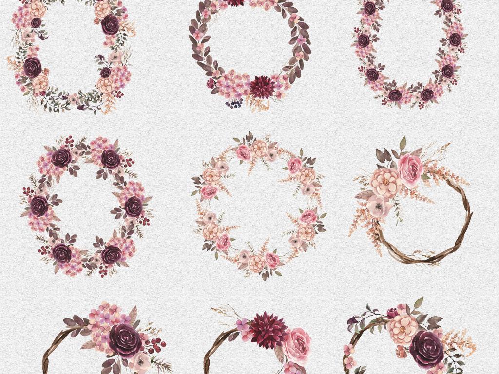花环紫色背景花朵背景高清背景手绘素材结婚请柬婚礼请柬请柬模板电子