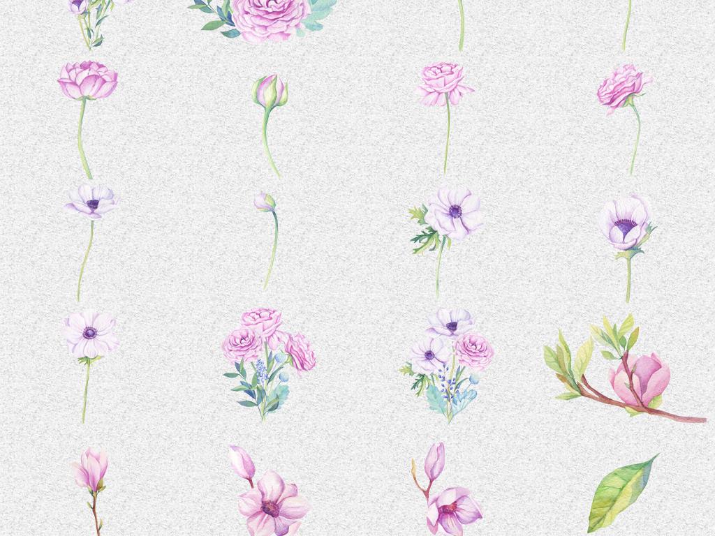 背景设计水彩叶子花瓣叶子水彩植物手绘花朵素材手绘叶子水彩植物植物