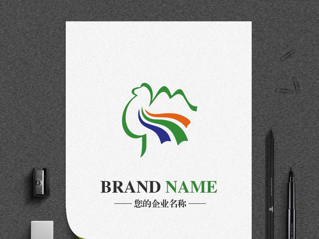 骆驼logo手绘线条彩带动物标志设计