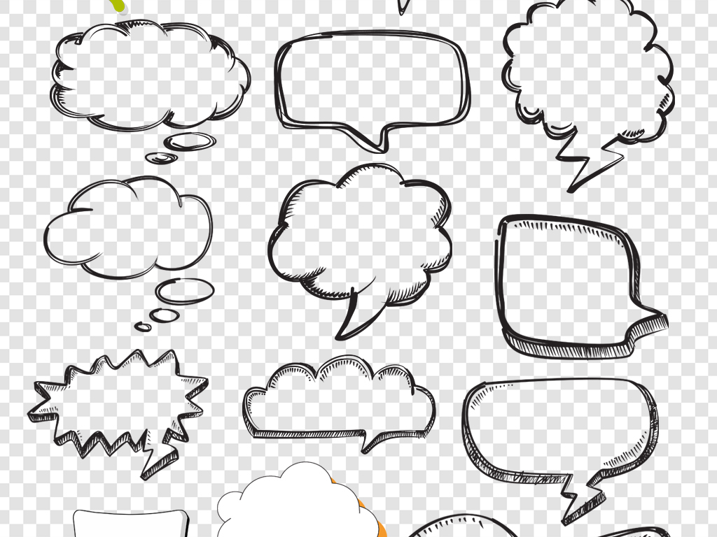 卡通手绘文本对话框png免扣素材