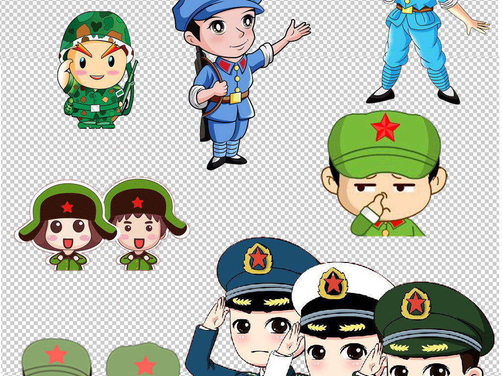 卡通红军军人士兵人物png透明背景