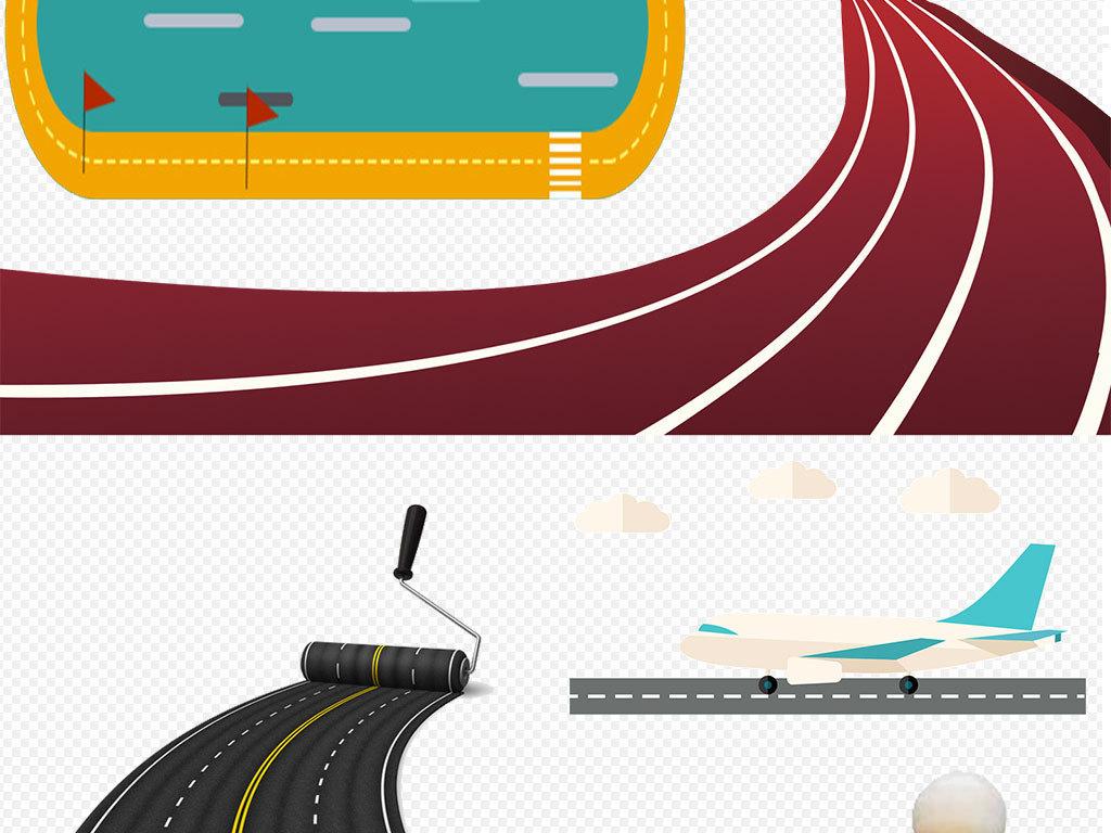 运动卡通跑道背景