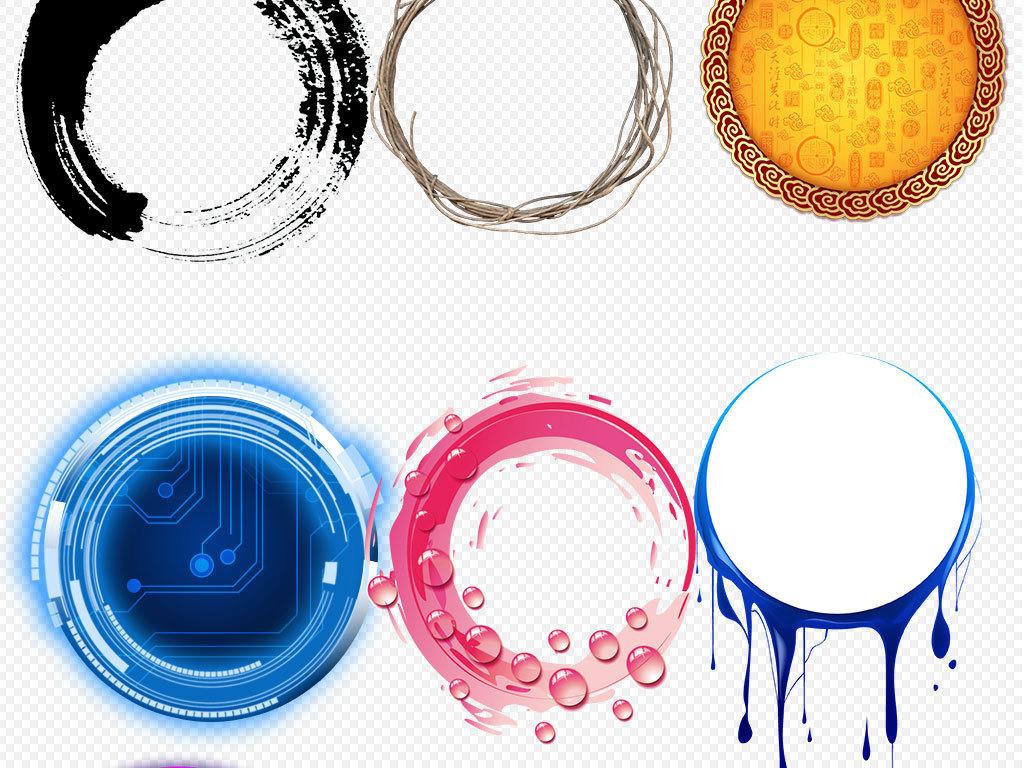水墨中国风圆环圆形边框圆圈图片背景素材