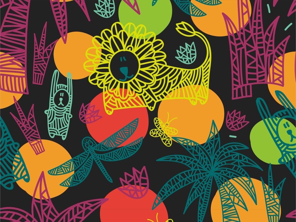 蜻蜓蝴蝶狮子植物花草棕榈树几何卡通图案