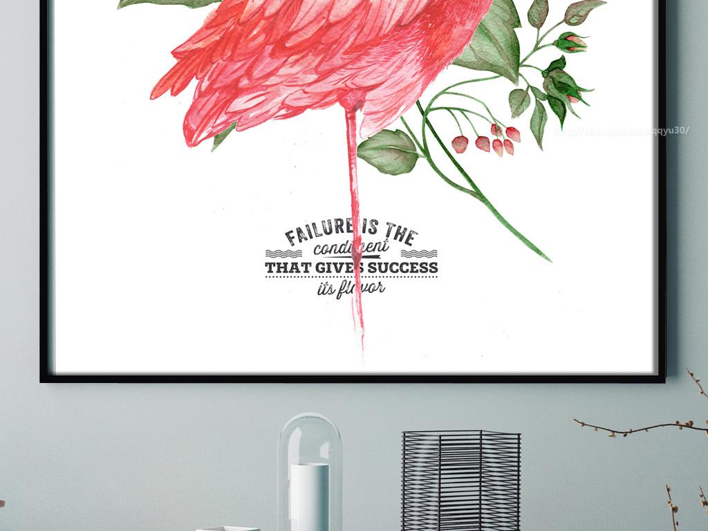 北欧风格玫瑰花火烈鸟无框画装饰画图片