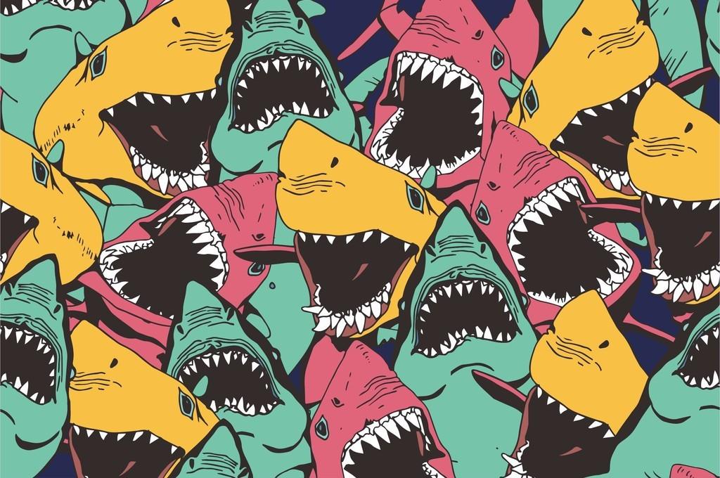 几何无规则图形海洋鲨鱼图案卡通循环图案