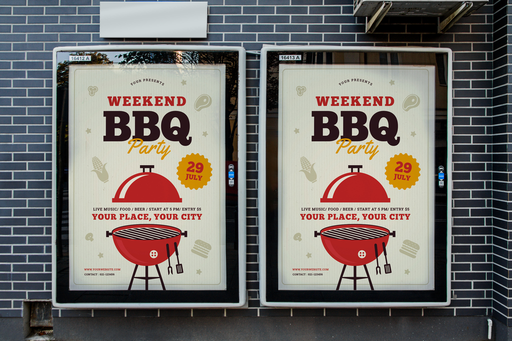 ai psd手绘简约bbq烧烤自助晚餐,家庭聚餐烧烤派对,宣传海报