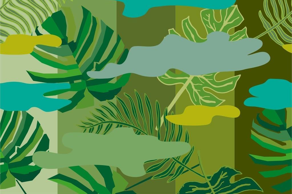 几何无规则图形植物叶子创意迷彩印花