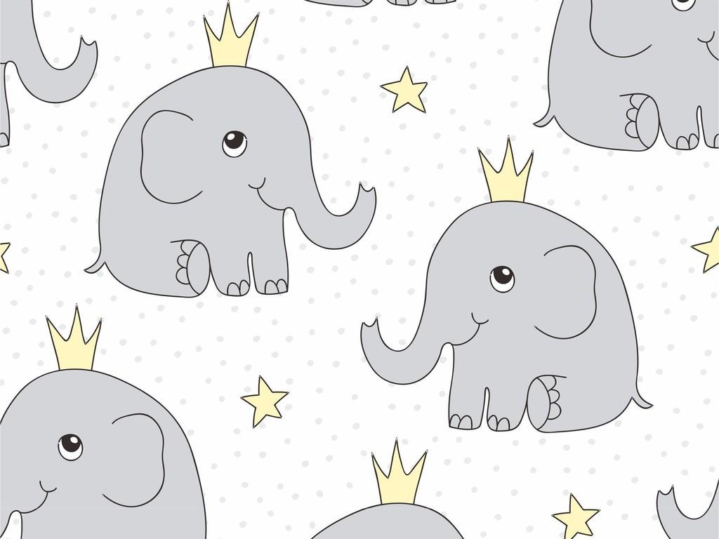 欧洲艺术皇冠图案卡通象图案波点印花