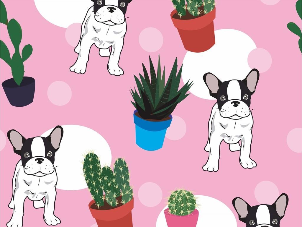 波点仙人掌植物花卉图案卡通狗盆栽印花