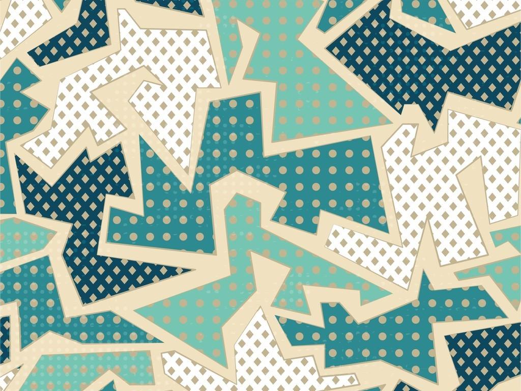ai)创意几何图案无规则图形创意板块拼图素材波点印花布匹家纺印花图片
