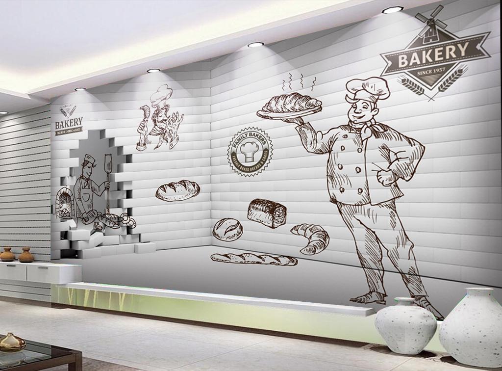 3d墙壁手绘线条画面包西餐厅工装背景墙