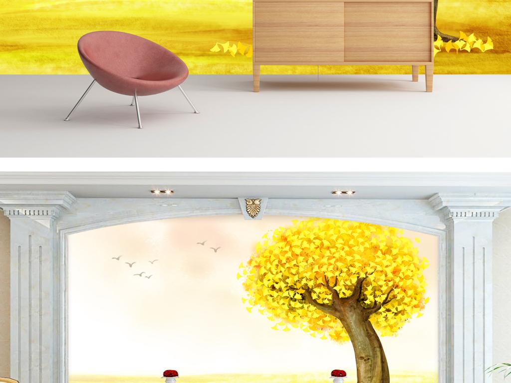 简约墙纸客厅电视背景墙手绘水彩银杏树木