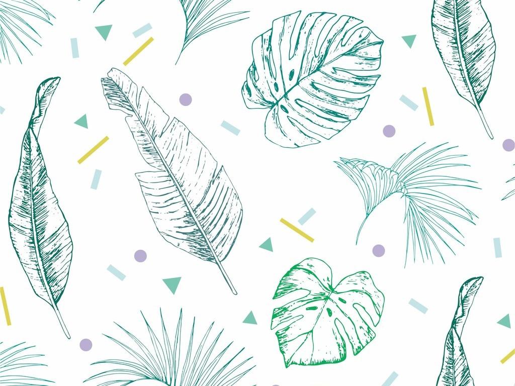 小清新植物树叶线性无规则图案波点印花