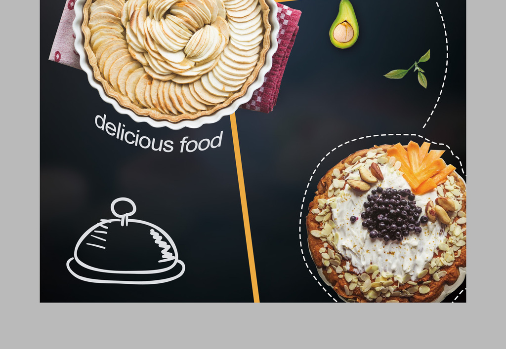 招牌特推pop海报促销海报小清新手绘风格小龙虾螺蛳粉蛋糕