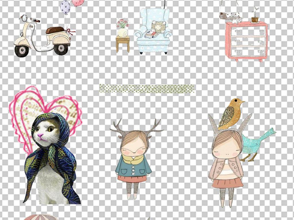 猫背景墙美式小清新现代花卉手绘人物蝴蝶插画素材文艺可爱素材蝴蝶
