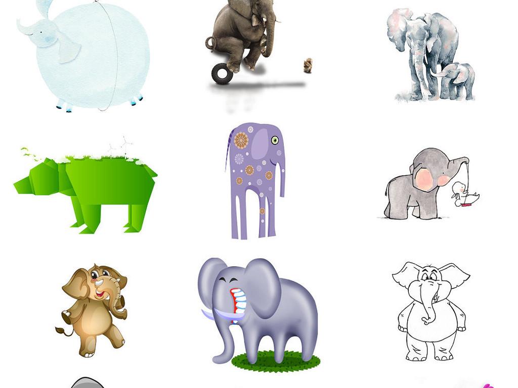 卡通动物大象漫画大象动物插画卡通大象2