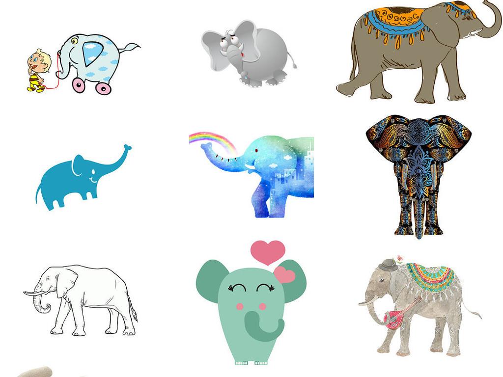 卡通动物大象漫画大象动物插画卡通大象4