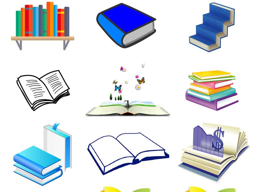 手绘线条书本知识书读书课本上学书籍3