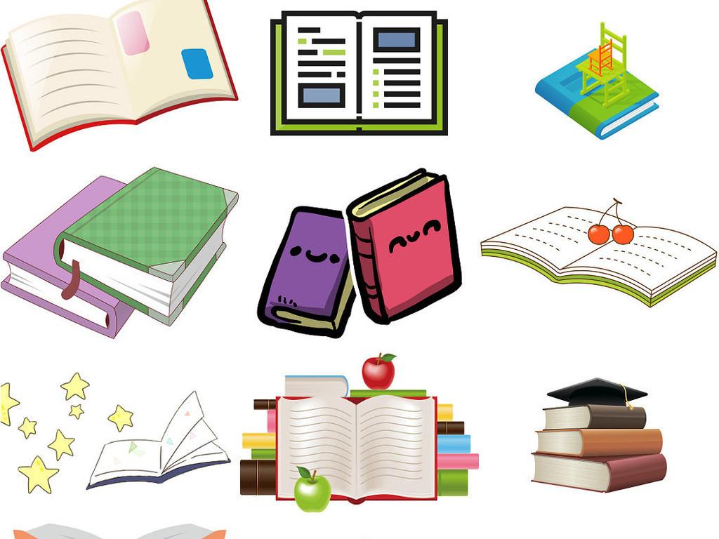 手绘线条书本知识书读书课本上学书籍2