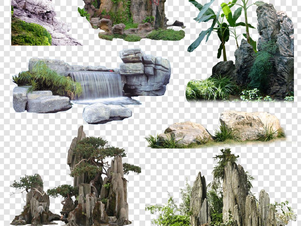 景观园林景观假山石头路石头背景国画石头石头纹理卡通石头手绘画石头