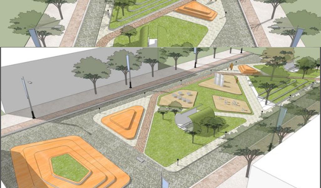 小游园绿化景观su模型公园su模型景观公园模型城市城市风景城市建筑
