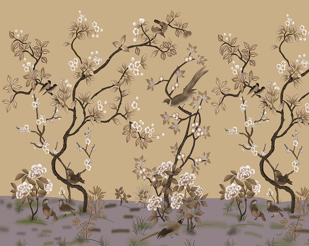 中式花鸟影视背景墙