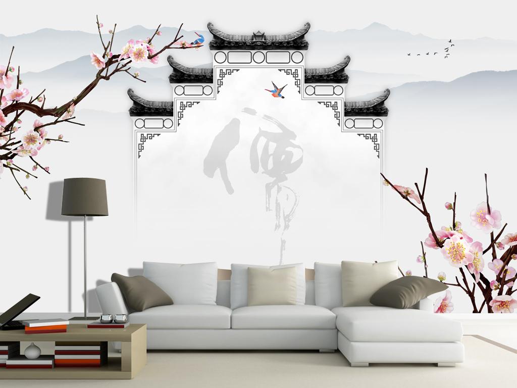 新中式水墨山水手绘玉兰徽派马头墙背景墙