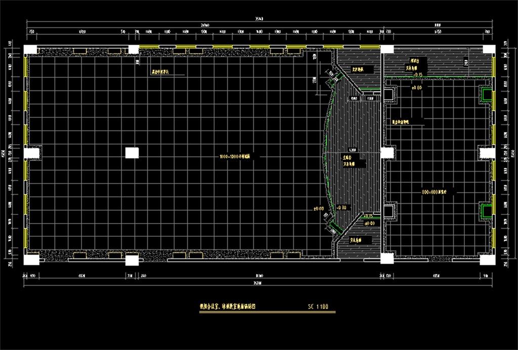 多功能视频会议室装修cad设计图平面图下载(图片2.40)图片