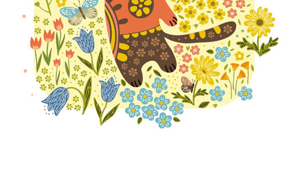 蝴蝶鸟猫咪花卉叶子植物花卉卡通图案卡通动物