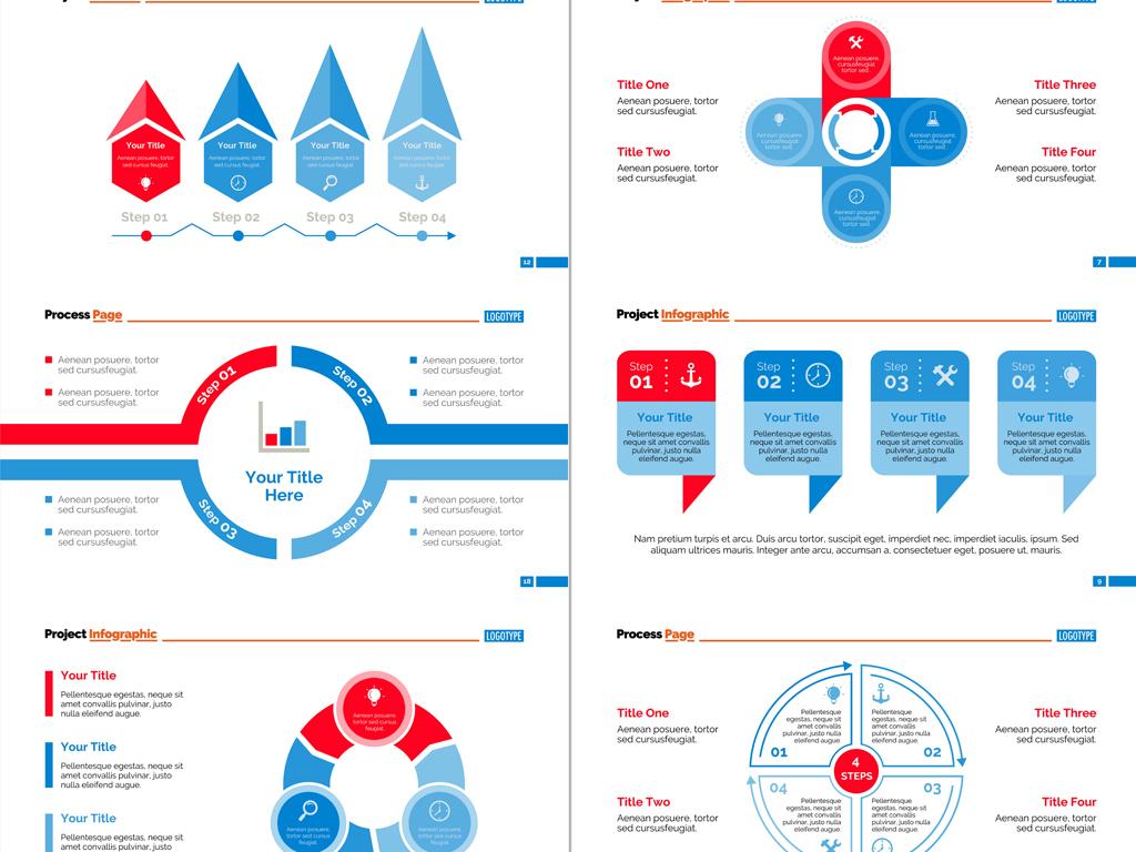 设计作品简介: 全套蓝红色系数据统计项目分析信息图表ppt素材 矢量图图片