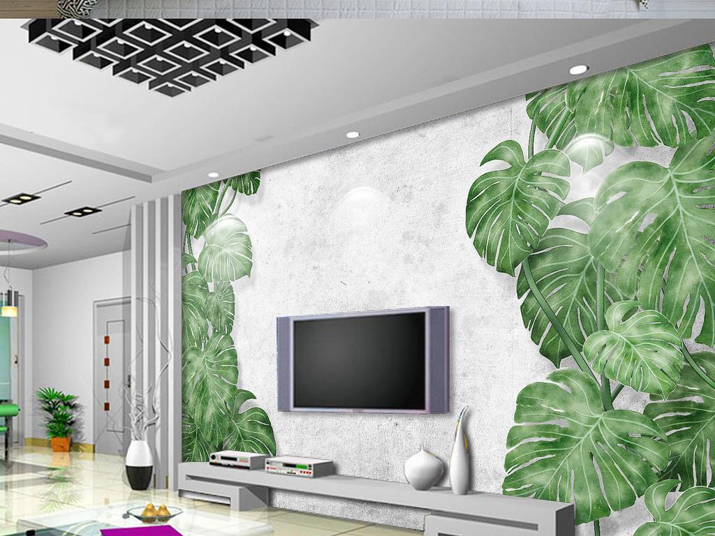 手绘绿植龟背竹树枝原始森林电视背景墙图片
