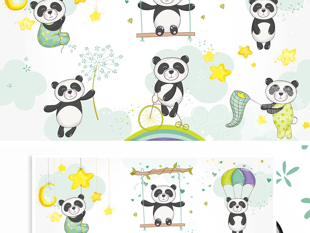 可爱小清新手绘卡通熊猫儿童背景墙