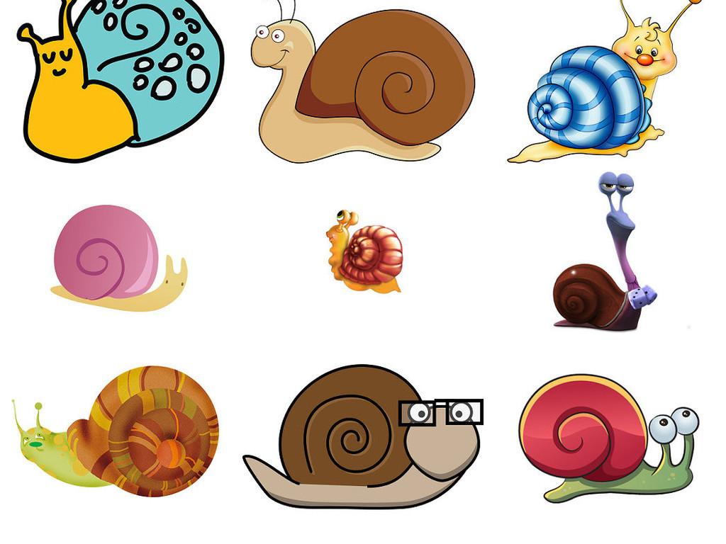 卡通蜗牛爬行中蜗牛爬行动物图片1