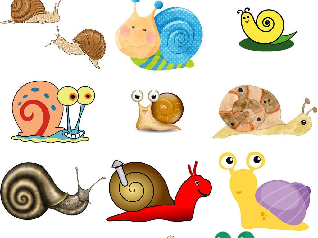 卡通蜗牛爬行中蜗牛爬行动物图片2