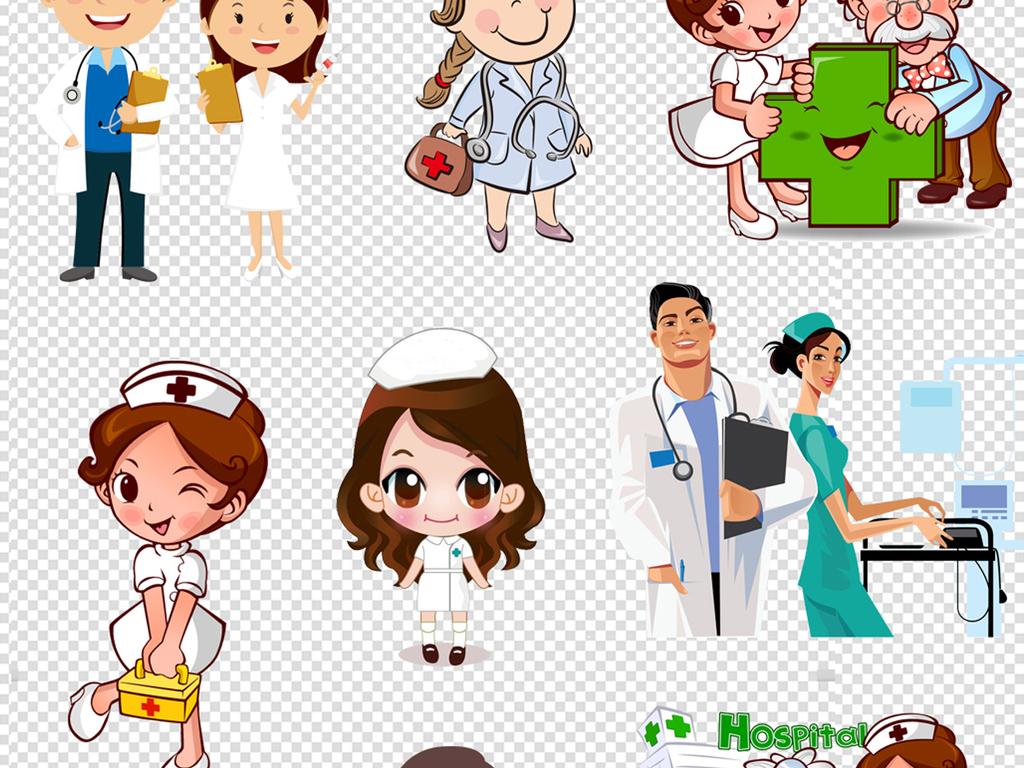 看病                                  生病护士姐姐男医生卡通形象图片