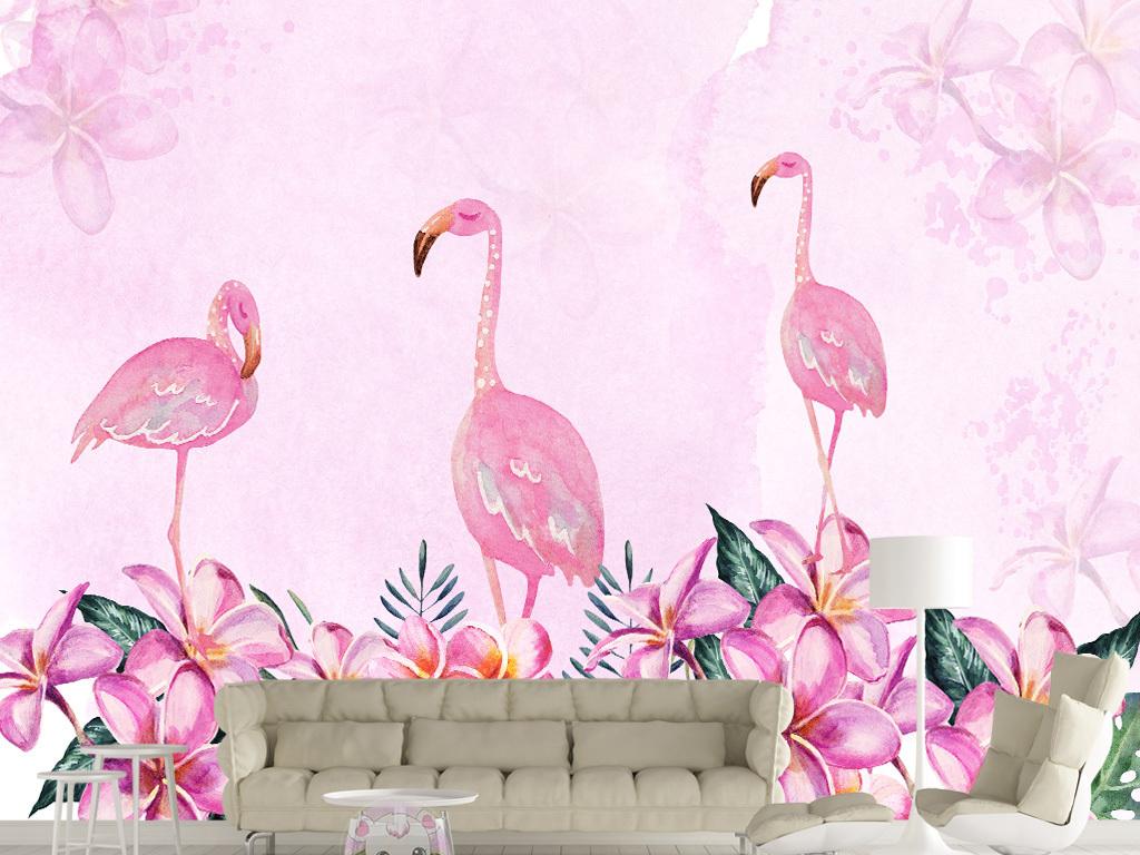 北欧简约手绘抽象火烈鸟花卉背景墙