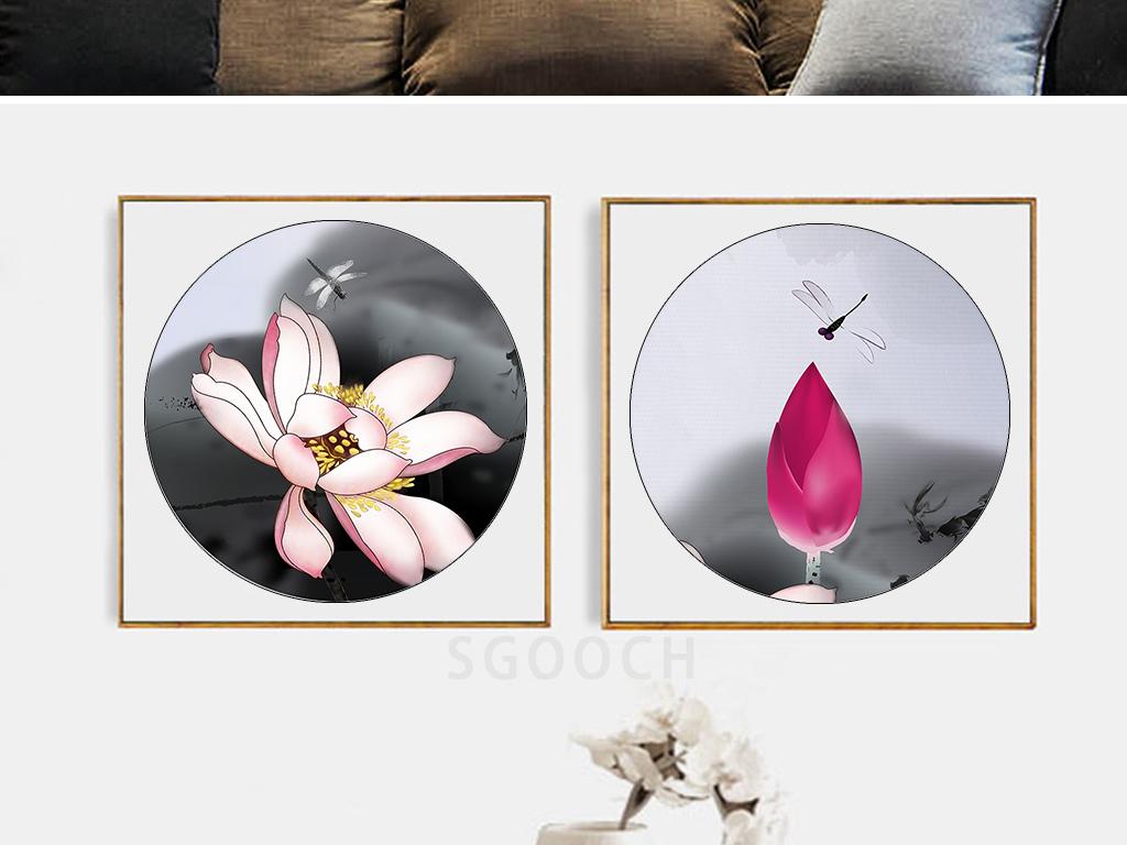 新中式手绘荷花水墨荷塘装饰画三联圆形画