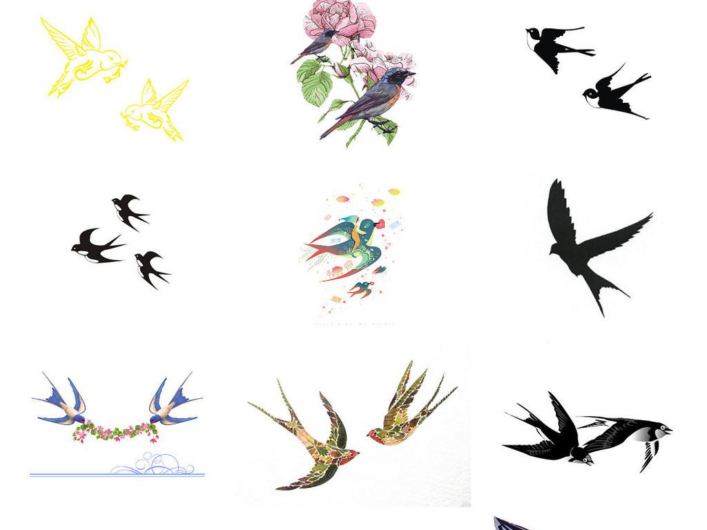 燕子家燕鸟小鸟飞行动物燕子简笔素材2