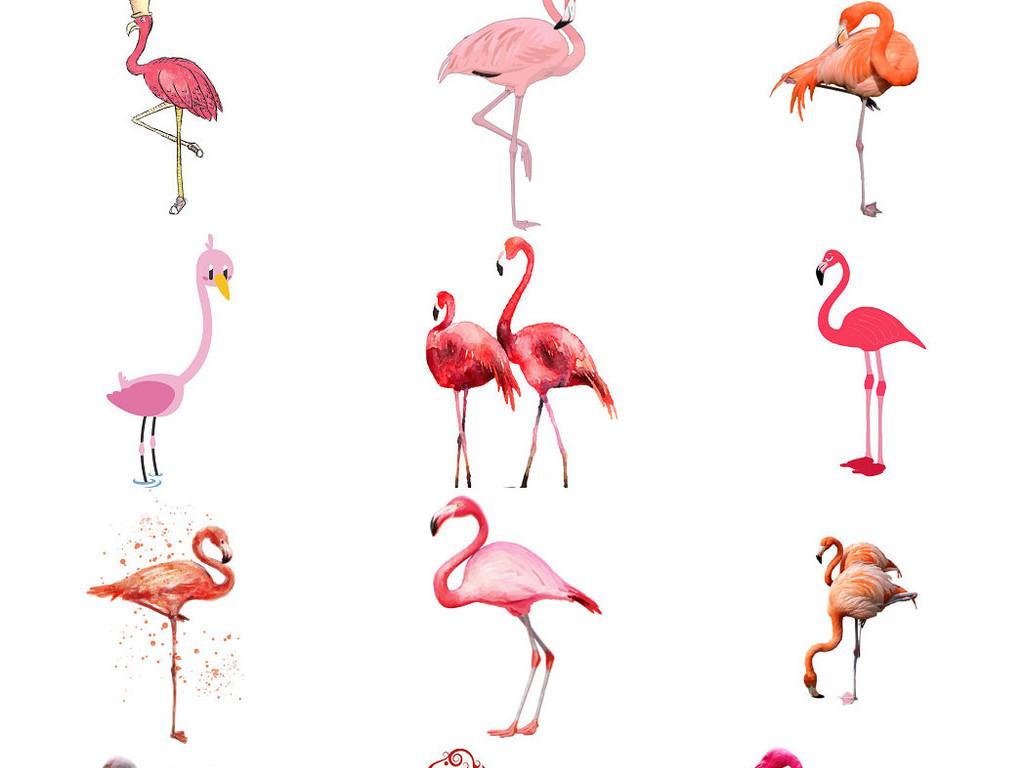 设计作品简介: 小清新手绘可爱卡通火烈鸟素材1 位图, rgb格式高清