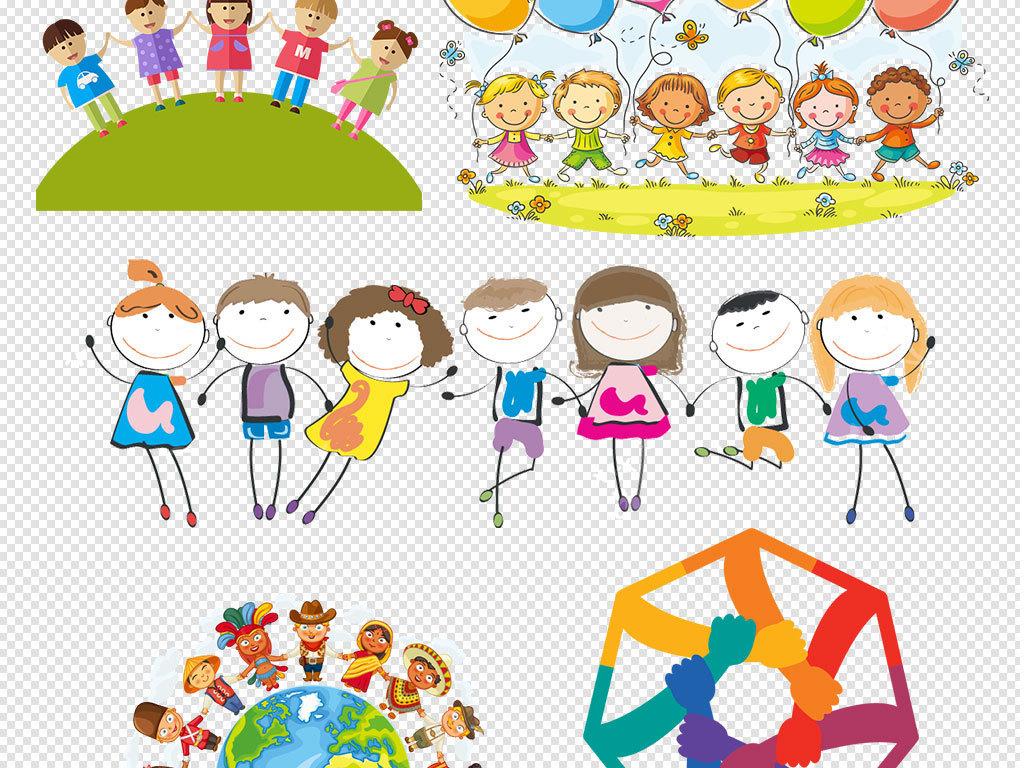 小学生人物小孩手拉手一群儿童