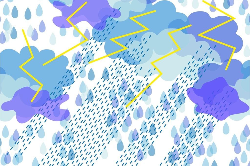 设计作品简介: 自然风光云风雨雷电面料印花循环图案素材 矢量图, rgb