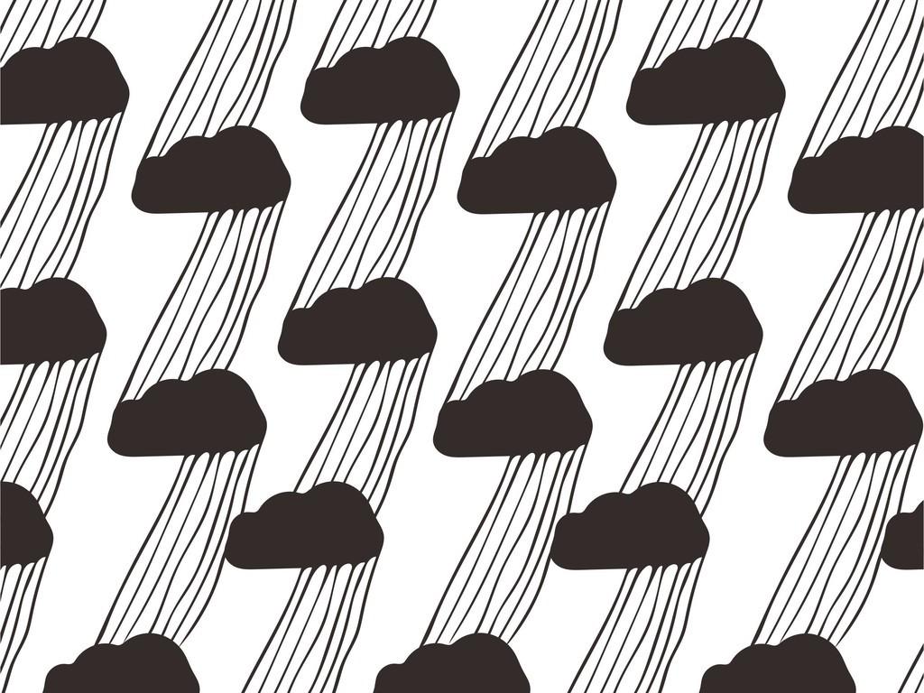 自然风光印花黑云手绘图案ai风雨雷电