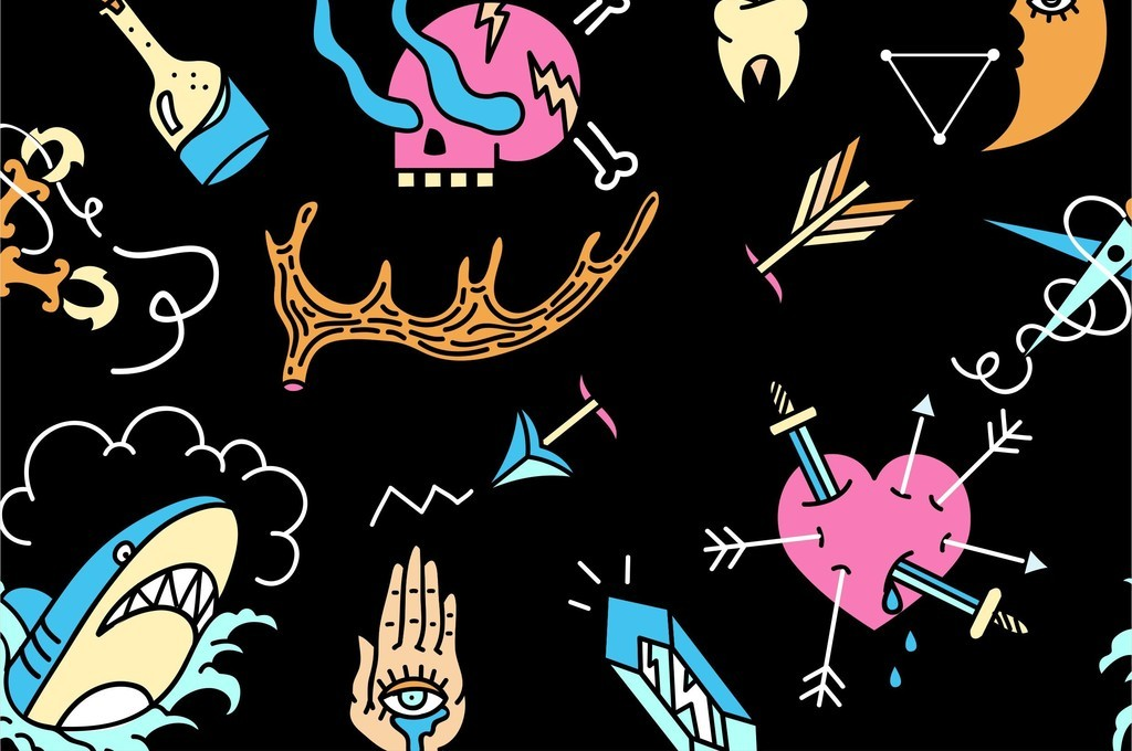骷髅头鲨鱼老虎头爱心图案刀叉箭戟卡通印花图片