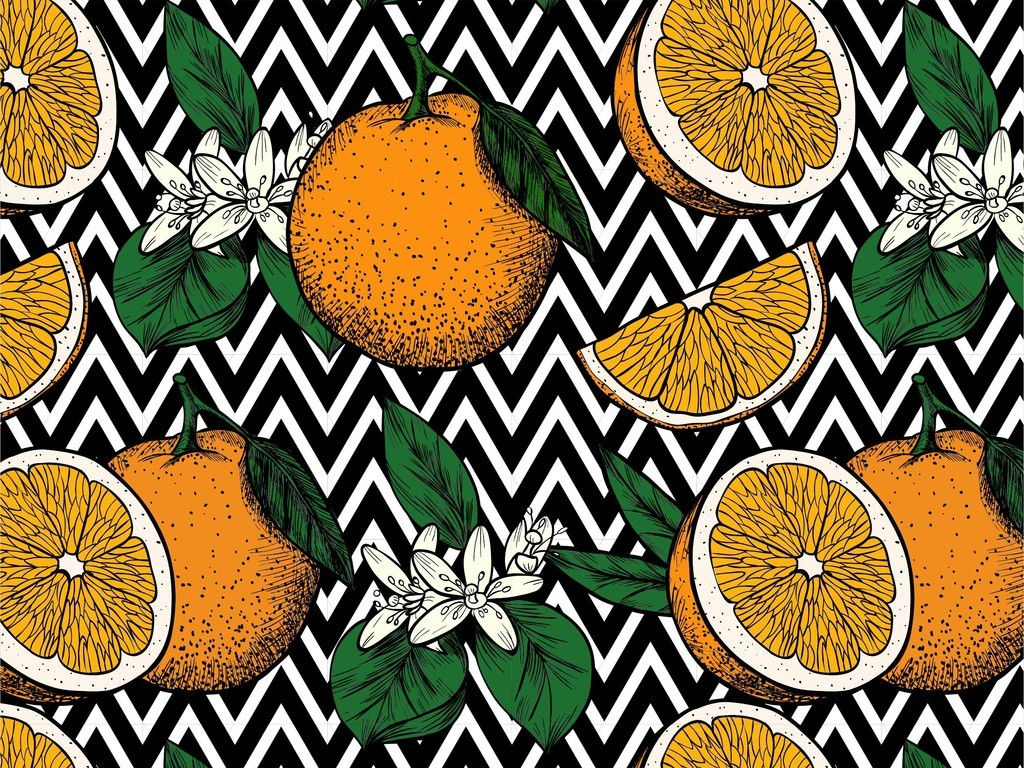 几何折线图形水果橙子图案树叶花卉印花